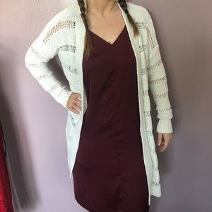 Women's long open stitched sweater